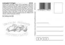 Pocztówka Lamborgini Zagato tył - Historia Motoryzacji