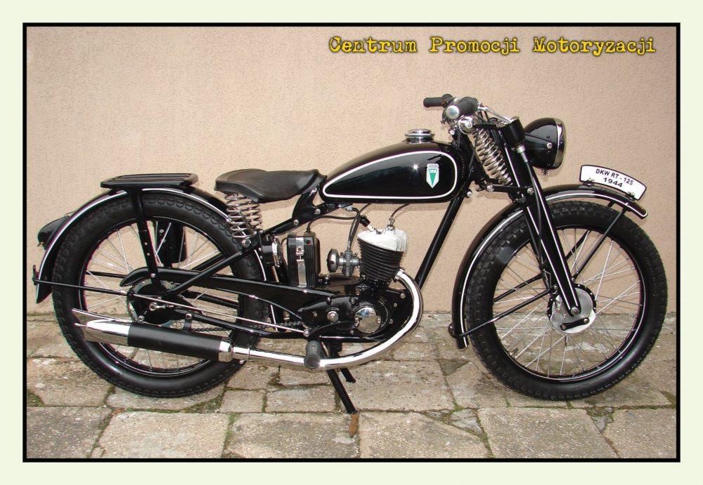 Pocztówka DKW 125 RT przód - Historia Motoryzacji