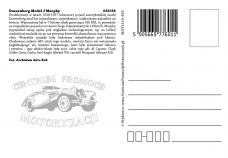 Pocztówka Duesenberg Murphy tył - Historia Motoryzacji