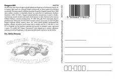 Pocztówka Peugeot 402 tył - Historia Motoryzacji