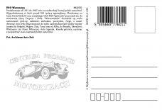 Pocztówka FSO Warszawa tył - Historia Motoryzacji