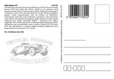 Pocztówka Alfa Romeo 4C tył - Historia Motoryzacji
